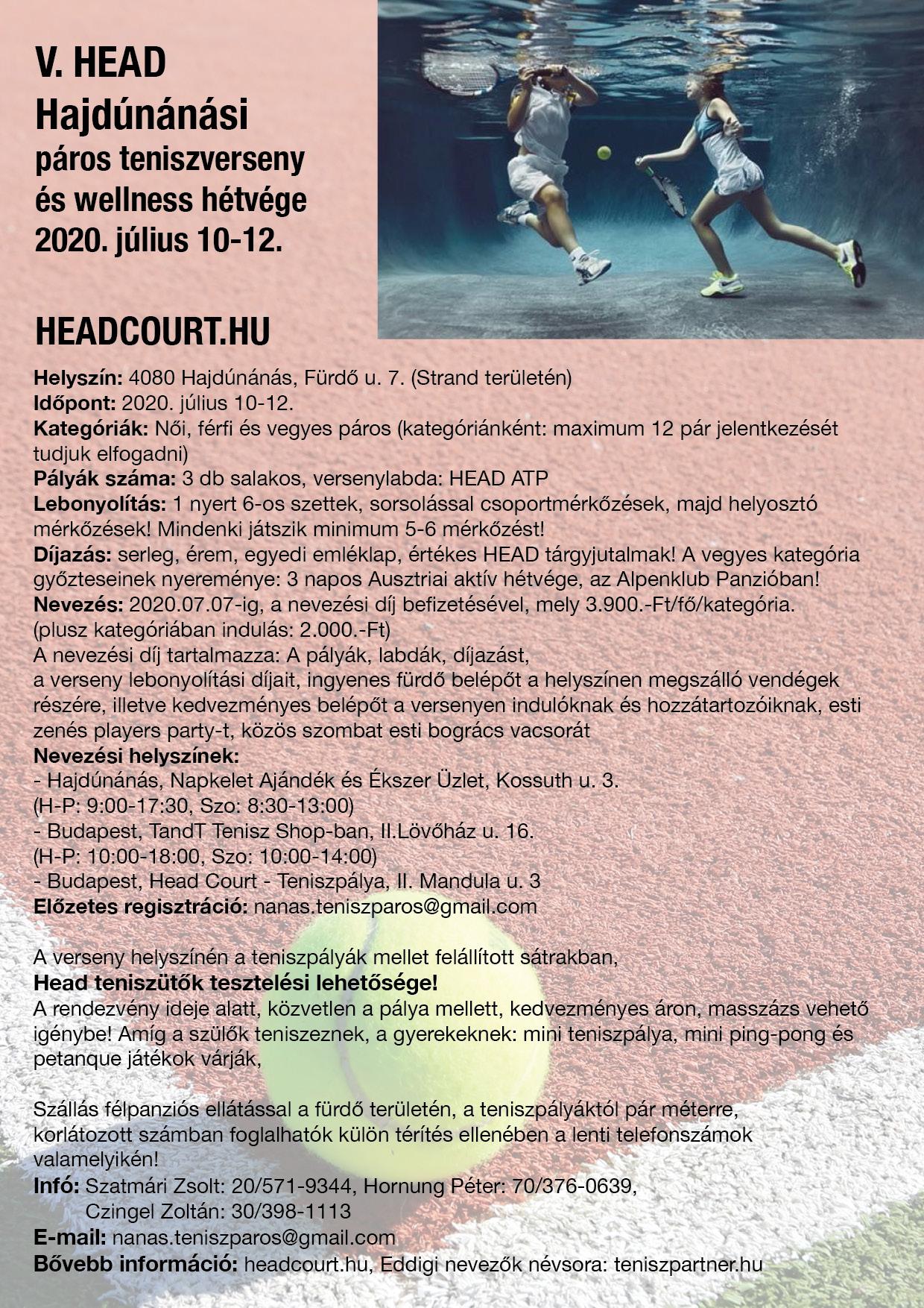 V. HEAD - Páros Teniszverseny és Wellness Hétvége